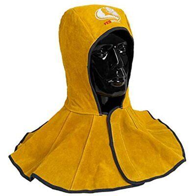 Yeswelder Golden Cowhide Split Leather Welding Hood With Neck Shoulder Drape -