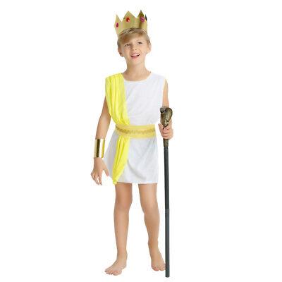 Boy's Ancient Greek Yellow Zeus Dress Up Kid Costume Cosplay Halloween Outfit](Boys Zeus Costume)