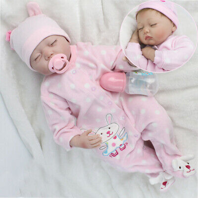 "22""/55CM SILICONE REBORN DOLL REAL LIFE LIKE LOOKING NEWBORN BABY GIRL DOLLS UK"