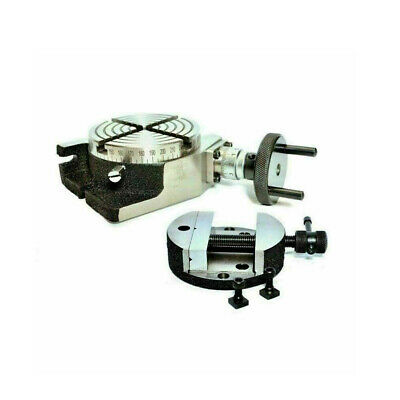 Rotary Table 100 Mm 4 Inch Horizontal And Vertical With Round Rotary Vice 80 Mm