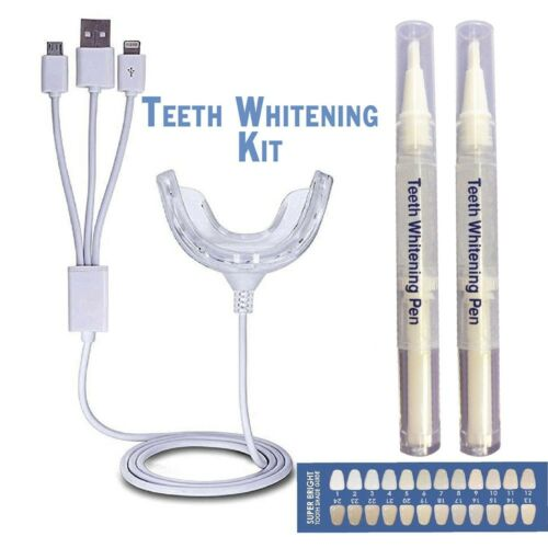 Home Teeth Whitening Kit CP Bleaching Gel Pen LED Tray Professional Health & Beauty