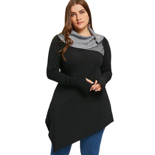 227f24b0da3 Womens Plus Size Cowl Neck Top T-Shirt Two Tone Top Asymmetrical ...