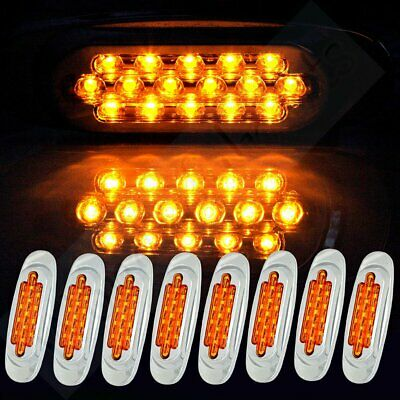 Set of 8 Yellow Sealed 16Led Side Marker Trailer Truck Clearance Tail Light Bus Oasis Accessory Bundle