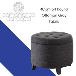 NEW Convenience Concepts Designs4Comfort Round Ottoman Gray Fabric Condtion: New, Gray Fabric