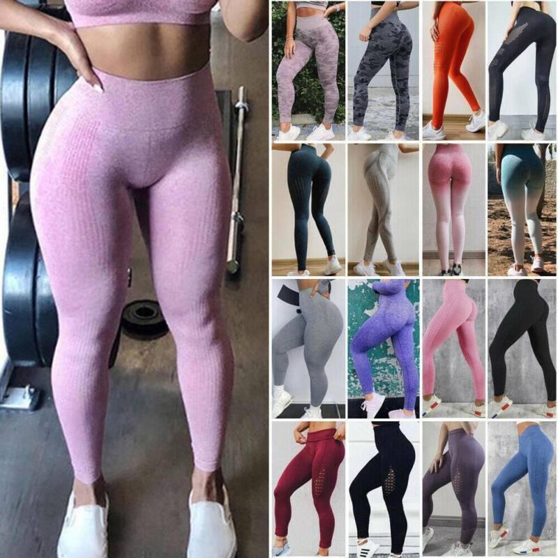 Women Ruched Push Up Leggings Yoga Pants Anti Cellulite Sport Scrunch Trousers 5