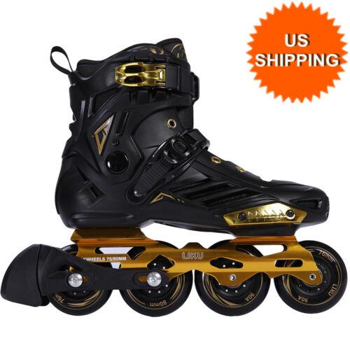 LIKU Unisex Fitness Inline Skates Breathable Roller Skates Beginner Black&Gold