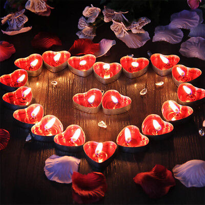 50PCS Romantic Love Heart Scented Candles Fragrance Aroma Tea Light Wax Gift US