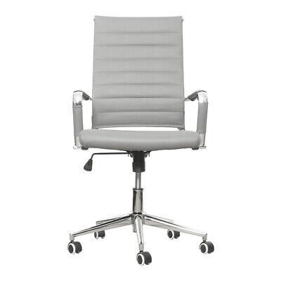 Office Chair High Back Swivel Pu Leather Ergonomic Computer Adjustable Seat Gray