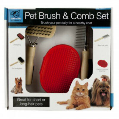 Duke and Tiny Pet Brush and Comb Set Healthy Coat for your Pet for Dogs and Cats