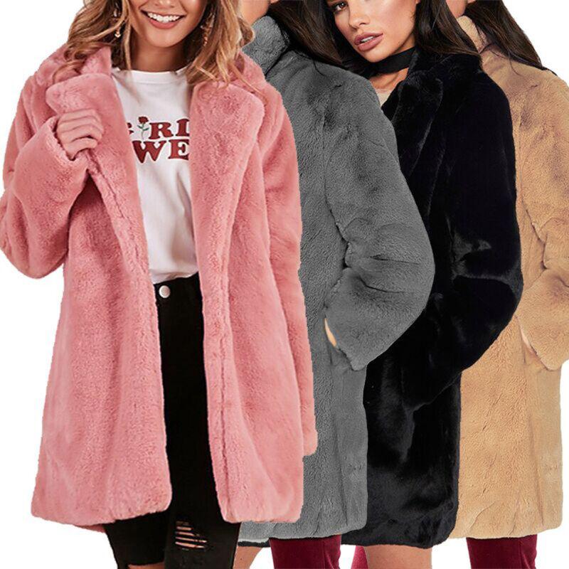 Winter Lady Womens Long Faux Fur Sherpa Fleece Coat Jacket Parka Outerwear ER