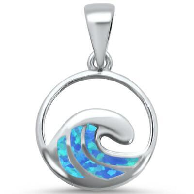 - Blue Opal Ocean Wave .925 Sterling Silver Pendant