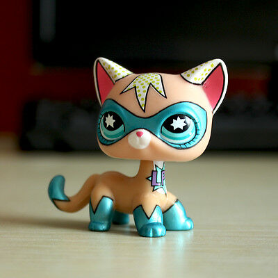 Littlest Pet Shop Comic Con Super Hero Masked Short Hair Cat LPS Rare Girl - Comic Con Girls