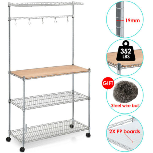 4 Tier Kitchen Bakers Rack Microwave Oven Stand Storage Cart Workstation Shelf