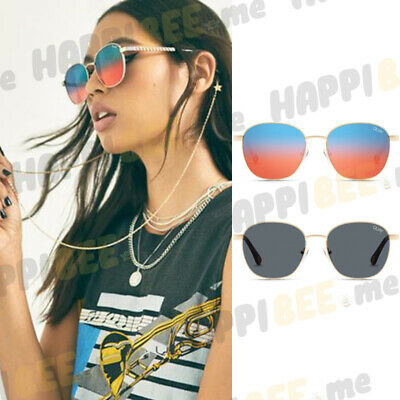 QUAY AUSTRALIA Link Up Round Sunglasses with Gold Chain + Protective Hard (Quay Round Sunglasses)