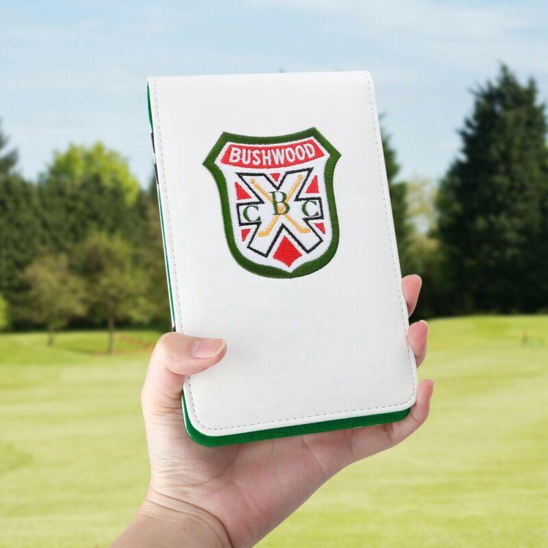 Golf Logo Shield White Leather Golf Scorecard & Yardage Book Holder Cover