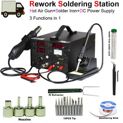3 In 1 Station Hot Air Gun Soldering Iron Smd Rework Welding Repair Tool 853d