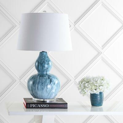 Blue Glaze Ceramic Table Lamp - JONATHAN Y Stockholm 28.5 in. Blue Glaze Ceramic LED Table Lamp