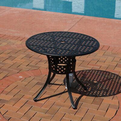 Sunnydaze Black Cast Aluminum Outdoor Round Patio Dining Table - 33-Inch Dining Table Outdoor Aluminum Patio