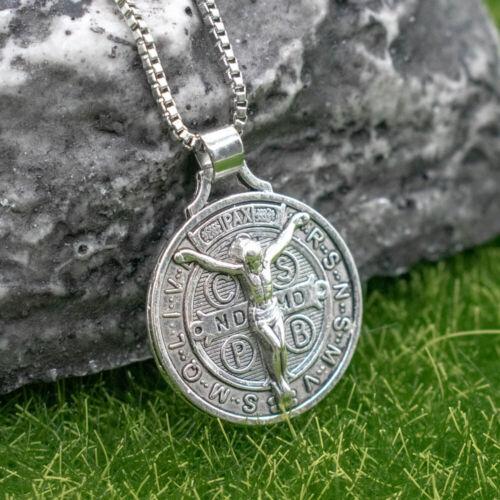 """Jesus Crucifix Saint St Benedict Medal Cross Pendant Necklace 24"""" Box Chain"""