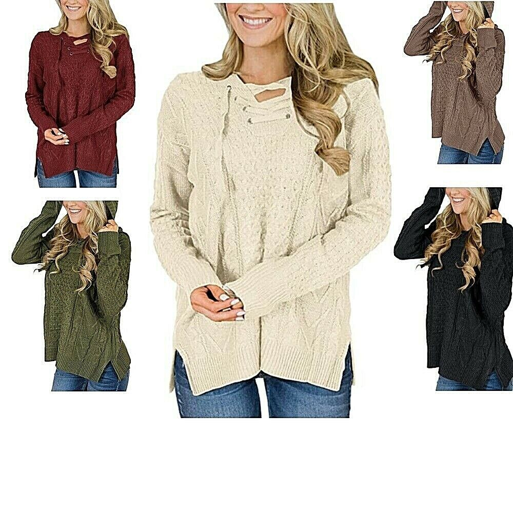 Lace-up Neck Side Split Hooded Sweater For Women Stylish Fashionable Quality Clothing, Shoes & Accessories
