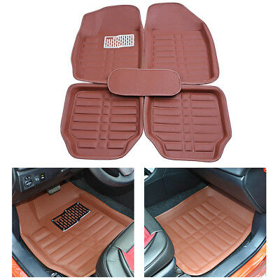 Universal Car Floor Mats 5 Seats Car Floor Liner Carpet Set All Weather Brown