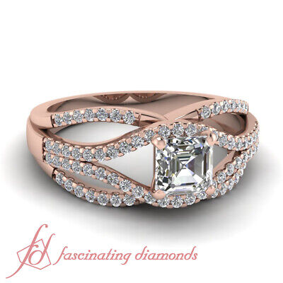 1.1 Ct Asscher Cut Diamond Split Shank Pave Engagement Ring In 14K Rose Gold GIA