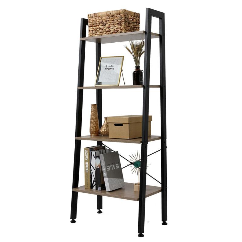 Ladder Shelf 4 Tier Stand Storage Rack Vintage Bookshelf Bookcase Plant Flower