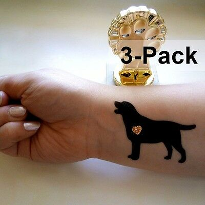 Dog Temporary Tattoos Black Labrador with Metallic Gold Heart 3 Pack