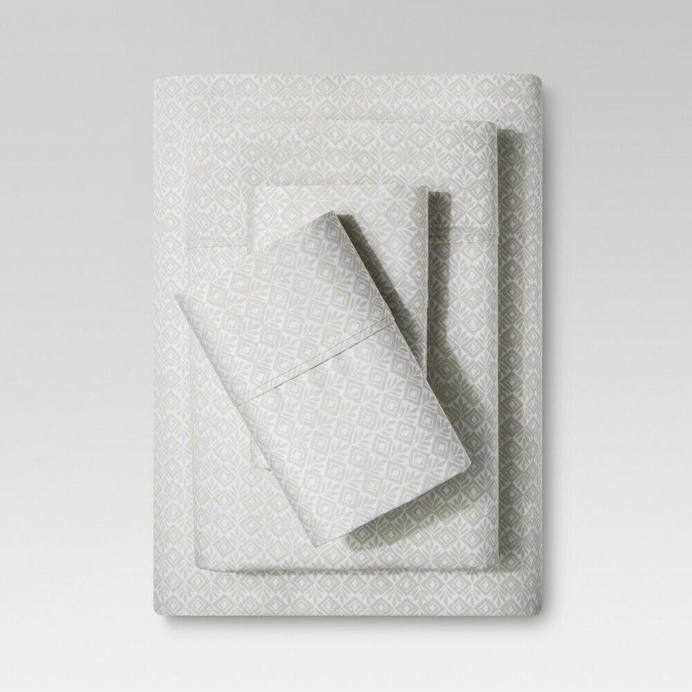 Threshold- Sheet Set Stamped Block Print (Twin) Beachcomber Bedding