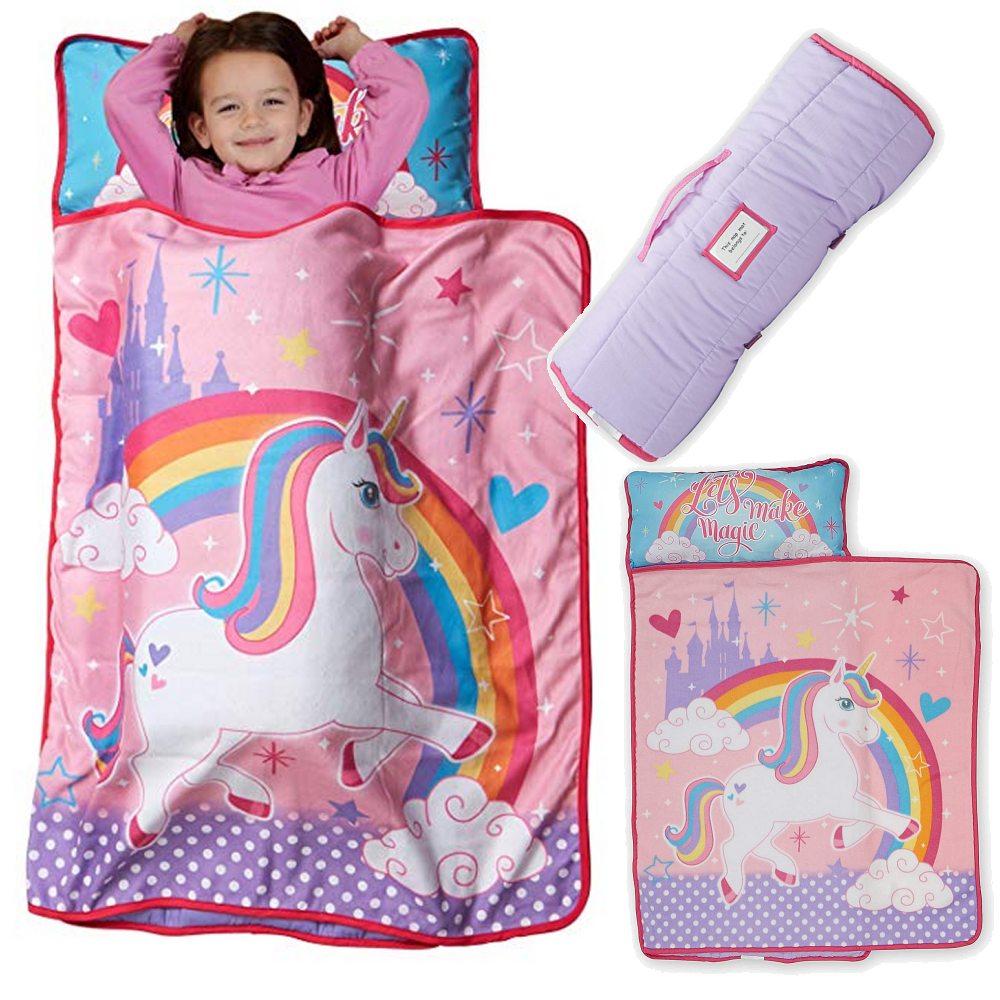 low priced b24dc ba0db Details about Kid Nap Mat Preschool Age Girl Sleeping Bag Toddler Unicorn  Blanket Pillow Mats
