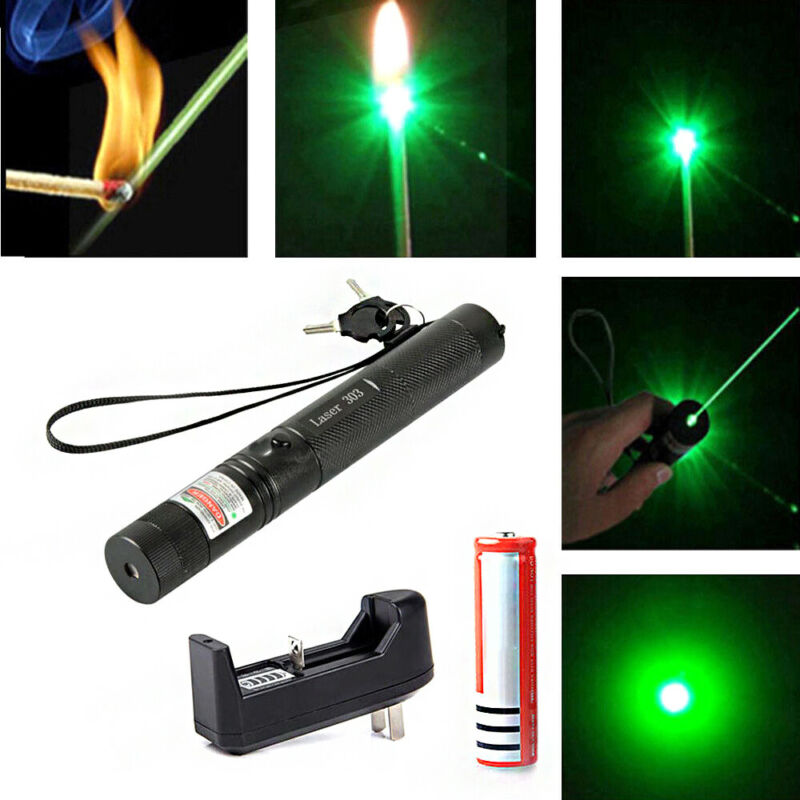 532nm 303 Green Laser Pointer Pen Visible Beam Light Lazer +18650+Charger Newly