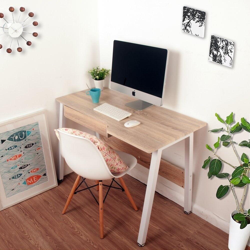 Home Office Desk Corner Computer Pc Writing Table Workstation Wooden Metal