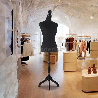 Adjustable Female Mannequin Torso Dress Cloth Form Tripod Standing Black V0x2