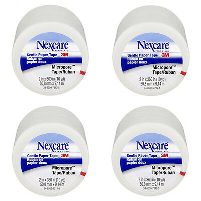 Four (4) rolls 3M Nexcare First Aid gentle paper tape Micropore 2 in x 10 yd Ea