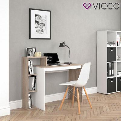 VICCO Schreibtisch LEO Weiß Sonoma Eiche Arbeitstisch Bürotisch Regal PC Tisch  ()