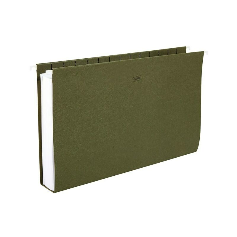 "Staples Hanging File Folders 2"" Expansion Letter Size Standard Green 25/Bx"