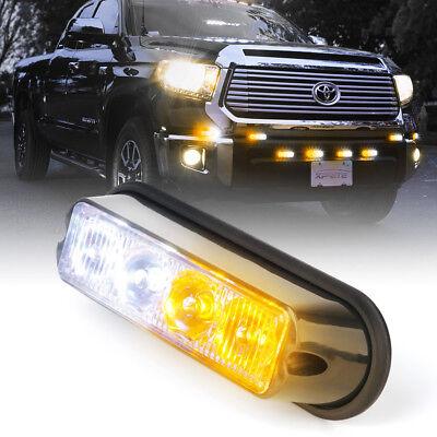 4 LED 4W Emergency Vehicle Side Marker Grille Flash Strobe Light White Amber