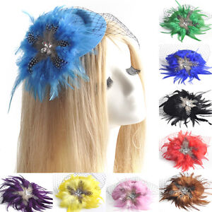 lady-wedding-pillbox-hat-fascinator-hair-clip-accessory-feather-crystal-10colors