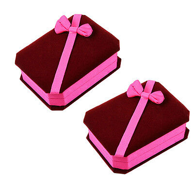 Two Deluxe Burgundy Pink Velvet - Satin Bow Pendant Necklace Jewelry Gift Boxes
