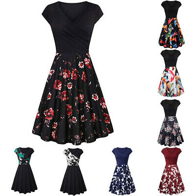 Women Bow Short Sleeve Cross V- Neck Dresses Vintage Elegant Flared A-Line Dress
