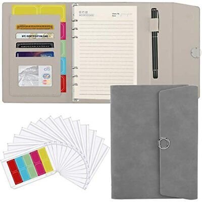 Housolution A5 6 Ring Binder Pu Leather Portfolio Case Conference Folder Card
