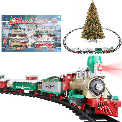 Luxury Electric Christmas Train Tracks Set Kids Toy w/ Lights Sounds Around Tree