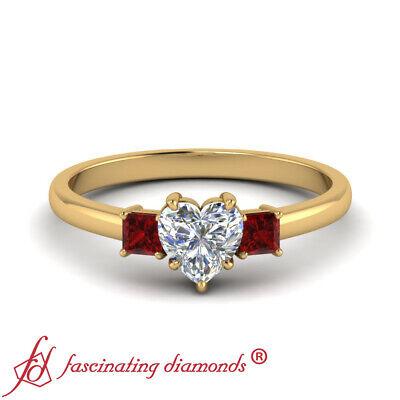 3/4 Carat Heart Shaped Diamond Three Stone Engagement Ring With Ruby Gemstones