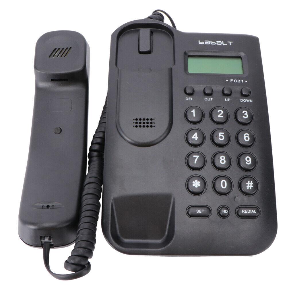 Black Corded Phone Caller Home Office Desk Wall Mount Landli