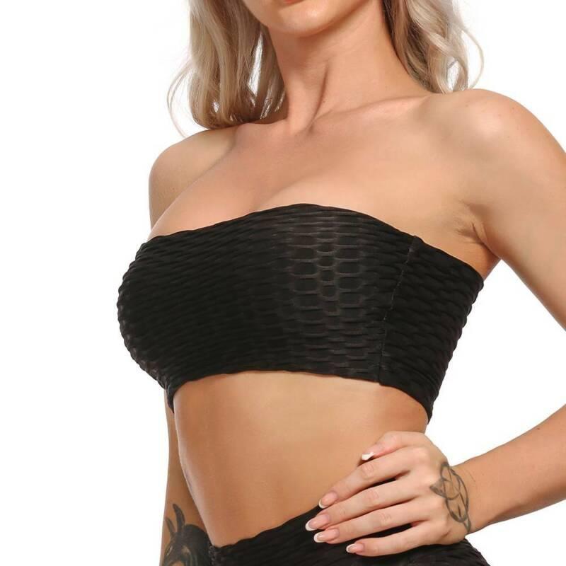 Womens Ladies Contrast Trim BoobTube Strapless Bandeau Stretch Vest Bra Crop Top