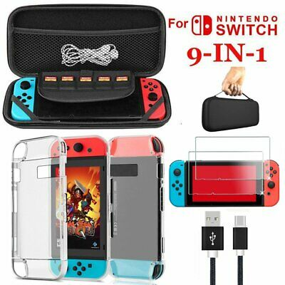 9 in 1 set Accessories Kit For Nintendo Switch Bundle Carrying Black Bag -