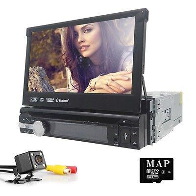 7''1Din Flip Out Stereo Radio GPS Navigation Car DVD Player Headunit Video Audio