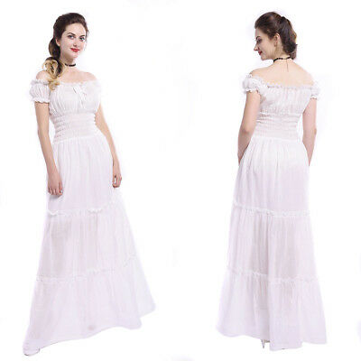 Women Medieval Renaissance White Chemise Off Shoulder Cotton Long Dress Costume