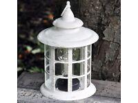 Brand New Beautiful Hanging 32cm Round Hexagonal Cream Lantern with Bulb (battery operated)