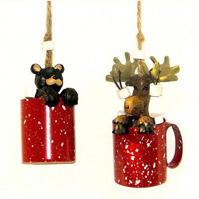 Moose and Bear Hot Cocoa Mug Christmas Ornaments, 2-Piece - Moose Christmas Ornaments